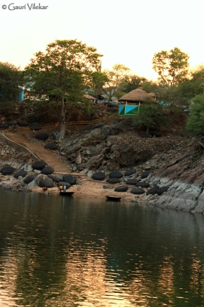 The overturned coracles on the river bed resembling Giant turtles