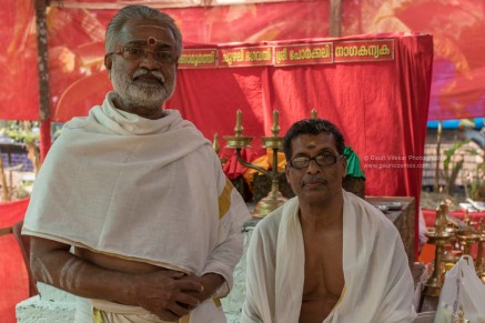 Left- Mr. Madhavan, priest of the Mela-Kaav